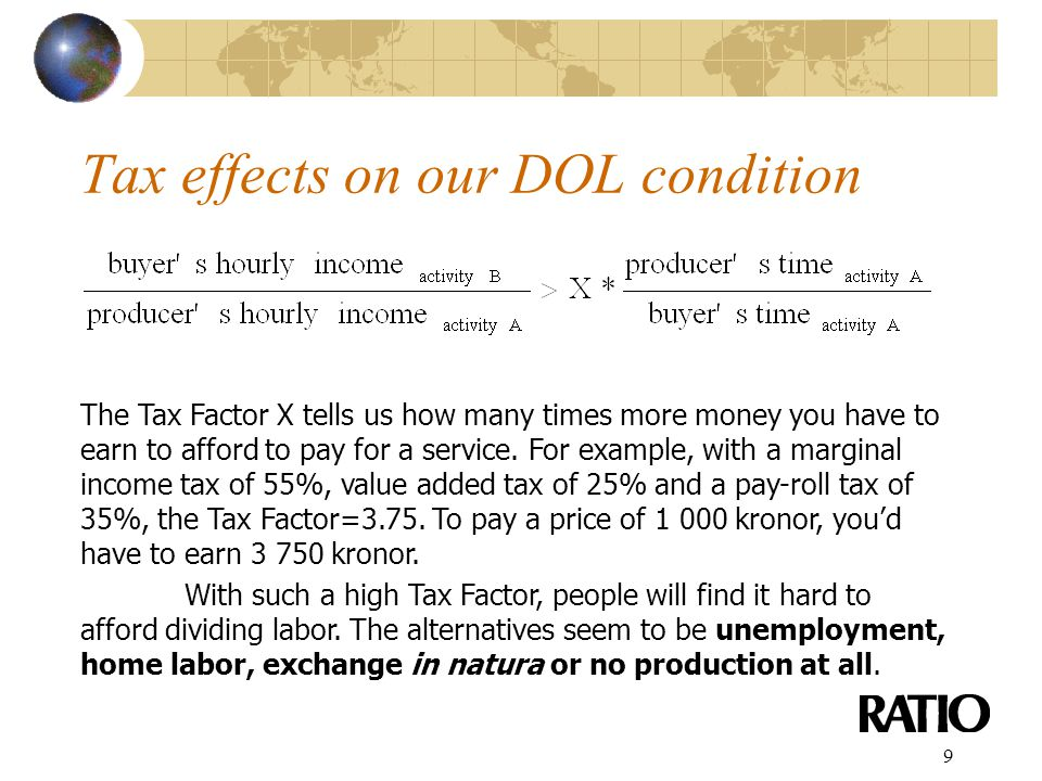 9 Tax effects on our DOL condition The Tax Factor X tells us how many times more money you have to earn to afford to pay for a service.