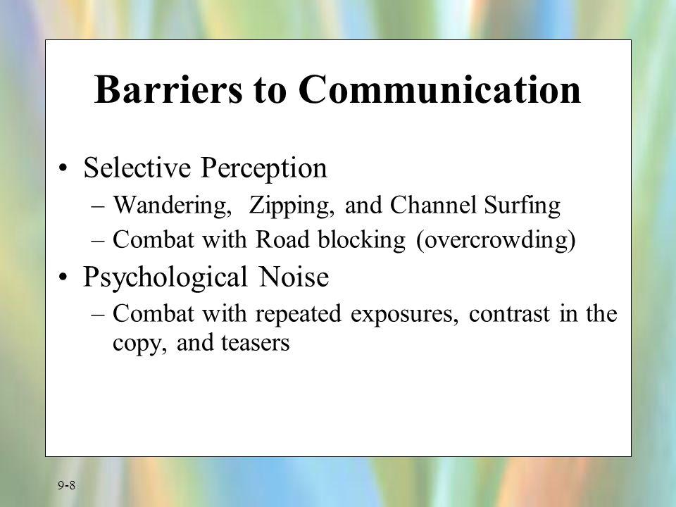 9-9 Figure 9.3 Comprehensive Communication Model Sender (Source) Receiver (Consumer) Messag e Channel (Medium ) Encodes Decodes Feedback Responds Appropriately .