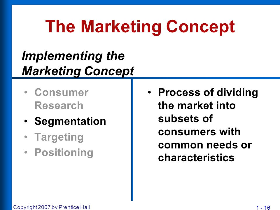 1 - 16 Copyright 2007 by Prentice Hall The Marketing Concept Consumer Research Segmentation Targeting Positioning Process of dividing the market into