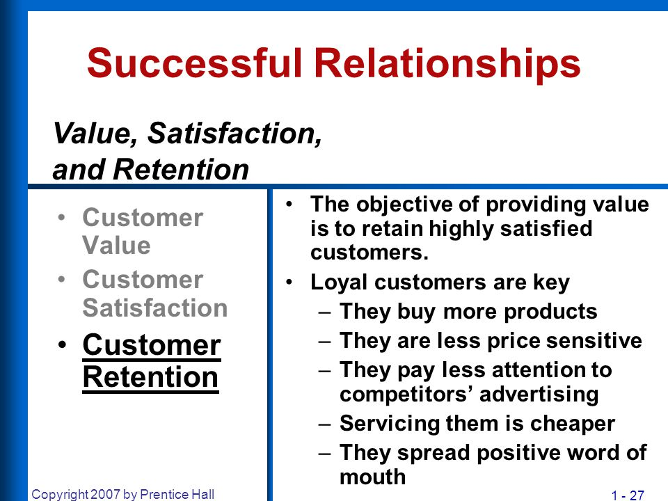 1 - 27 Copyright 2007 by Prentice Hall Successful Relationships Customer Value Customer Satisfaction Customer Retention The objective of providing val