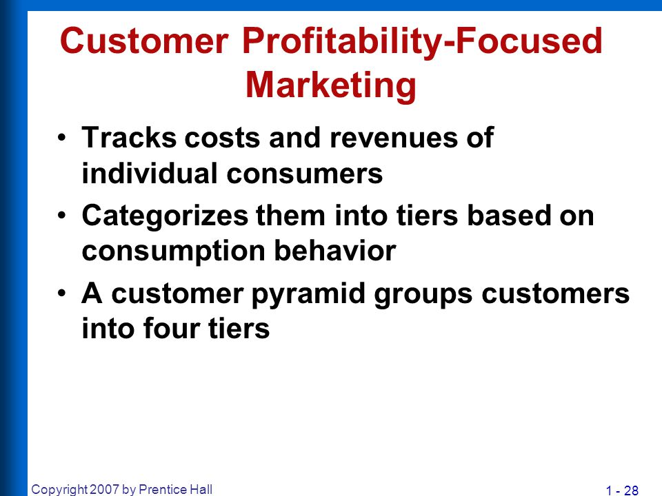 1 - 28 Copyright 2007 by Prentice Hall Customer Profitability-Focused Marketing Tracks costs and revenues of individual consumers Categorizes them int