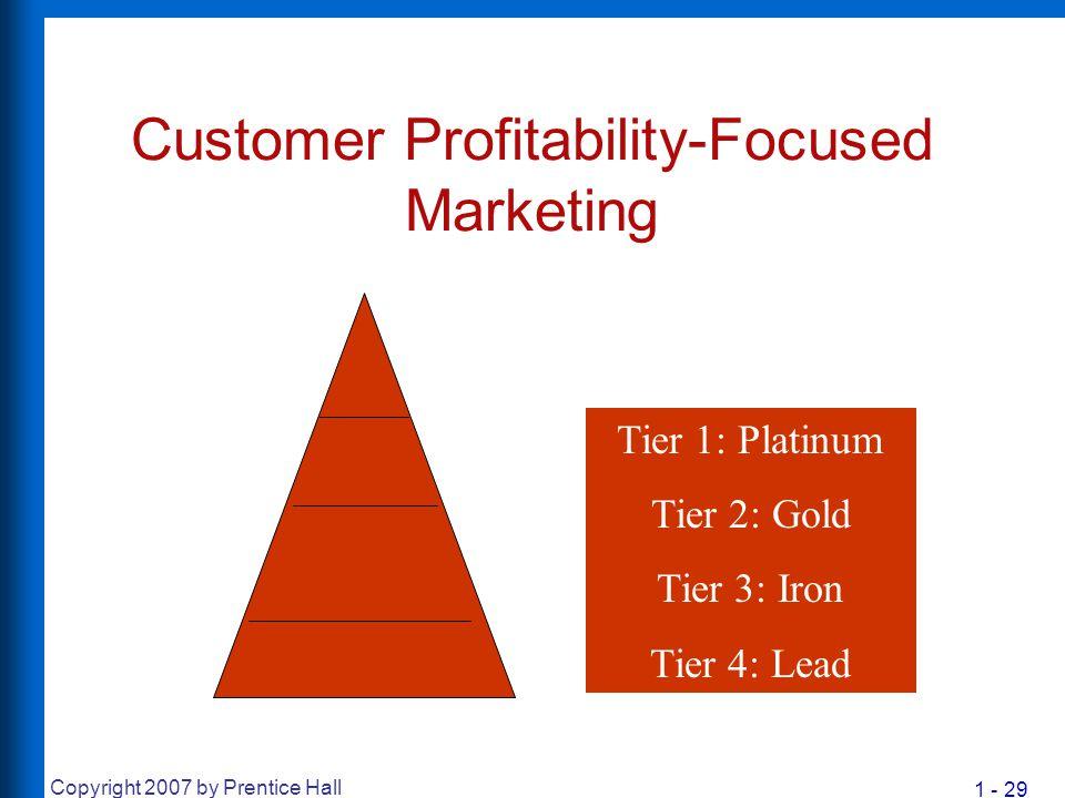 1 - 29 Copyright 2007 by Prentice Hall Customer Profitability-Focused Marketing Tier 1: Platinum Tier 2: Gold Tier 3: Iron Tier 4: Lead