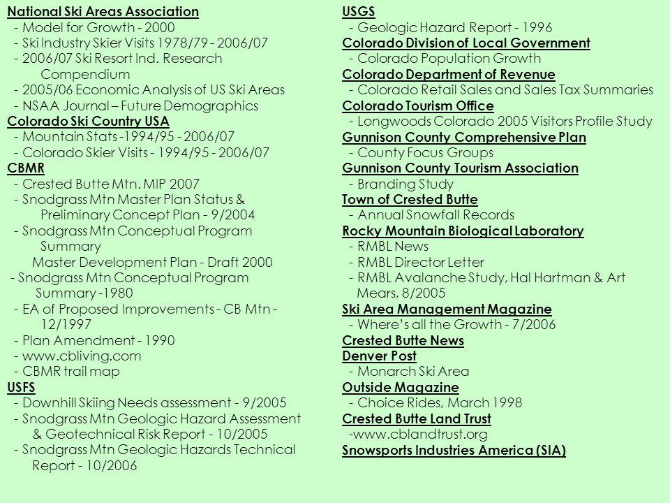 National Ski Areas Association - Model for Growth - 2000 - Ski Industry Skier Visits 1978/79 - 2006/07 - 2006/07 Ski Resort Ind. Research Compendium -