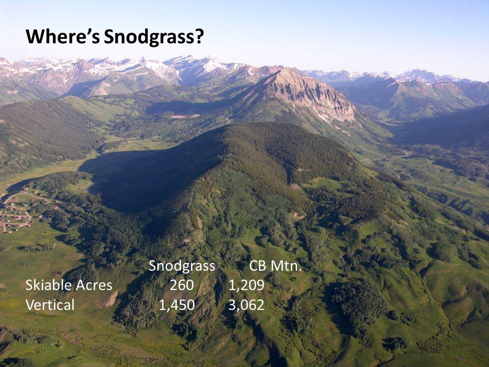 Where's Snodgrass? Snodgrass CB Mtn. Skiable Acres 260 1,209 Vertical 1,450 3,062