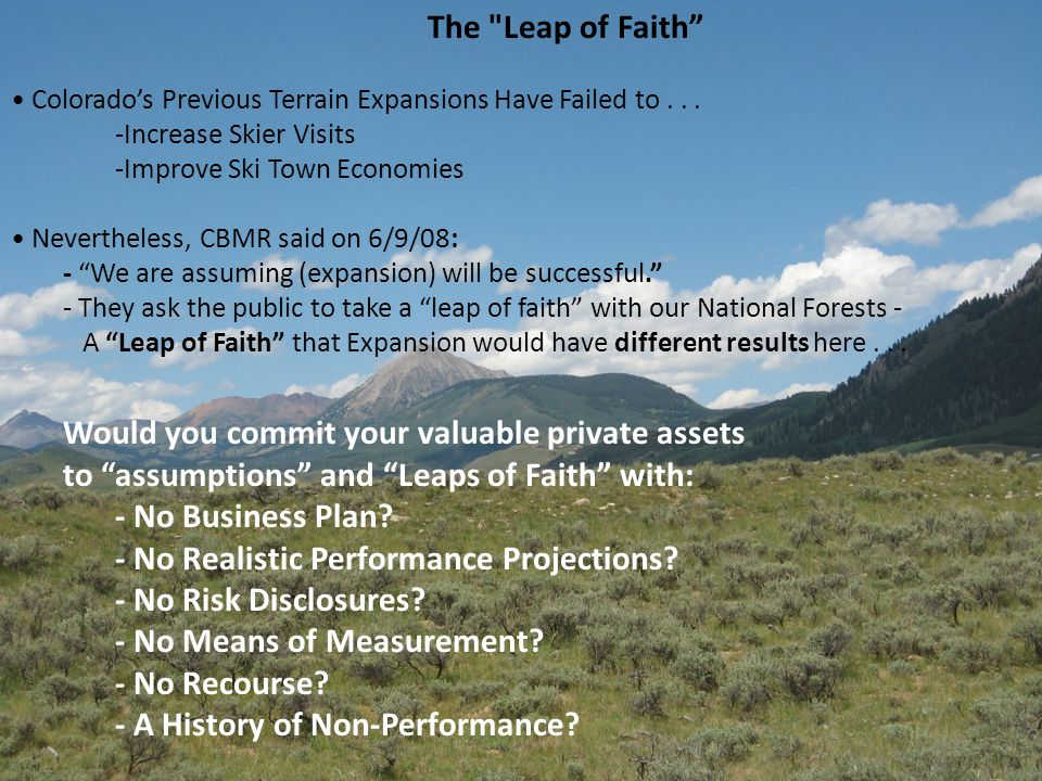 The Leap of Faith Colorado's Previous Terrain Expansions Have Failed to...