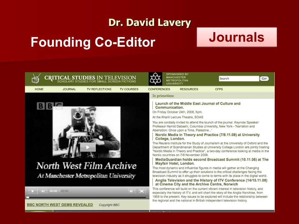 Dr. David Lavery Founding Co-Editor Journals