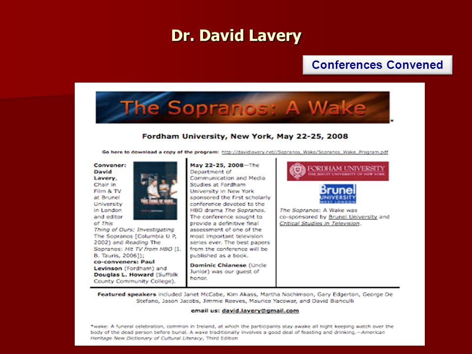 Dr. David Lavery Conferences Convened