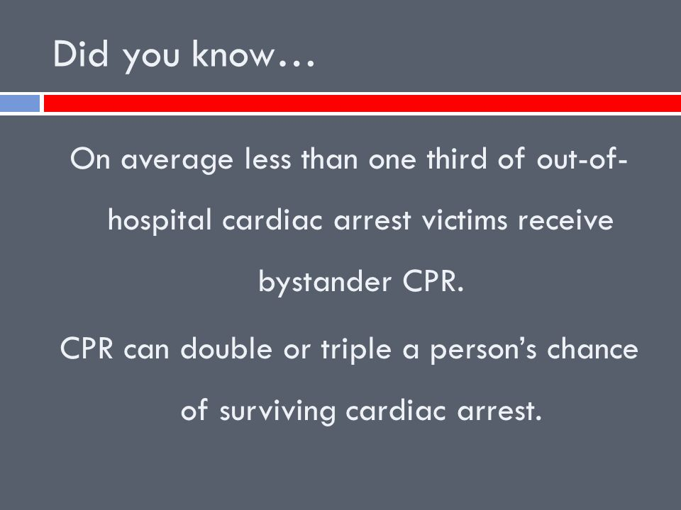 Did you know… On average less than one third of out-of- hospital cardiac arrest victims receive bystander CPR.