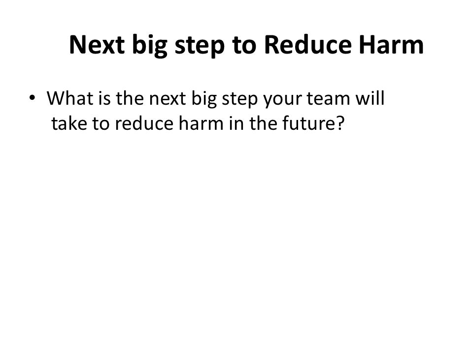 Next big step to Reduce Harm What is the next big step your team will take to reduce harm in the future