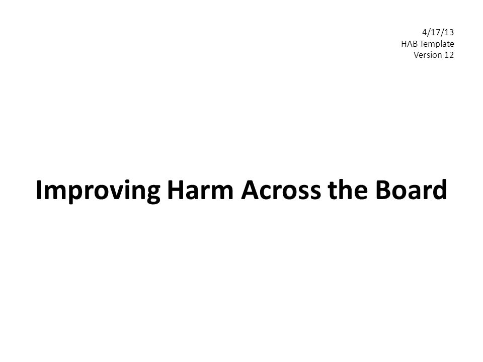 Improving Harm Across the Board 4/17/13 HAB Template Version 12