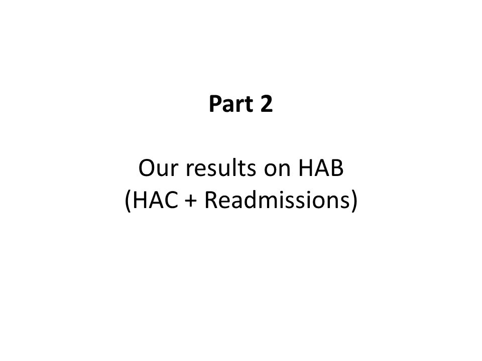Part 2 Our results on HAB (HAC + Readmissions)