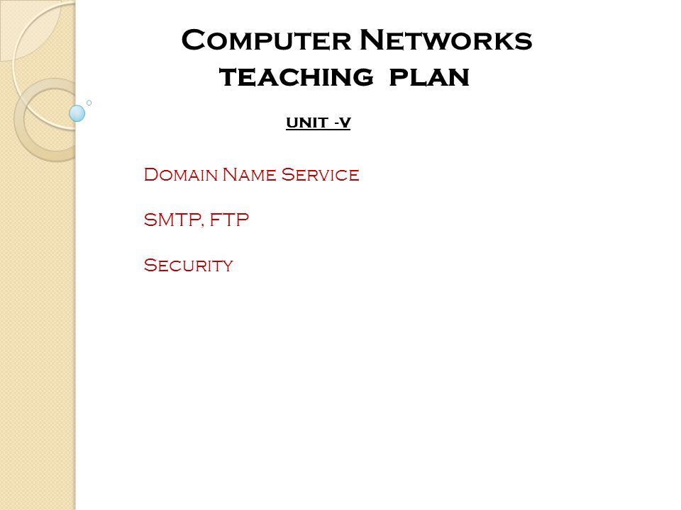 UNIT -V Computer Networks teaching plan Domain Name Service SMTP, FTP Security