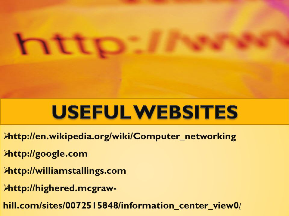  http://en.wikipedia.org/wiki/Computer_networking  http://google.com  http://williamstallings.com  http://highered.mcgraw- hill.com/sites/00725158