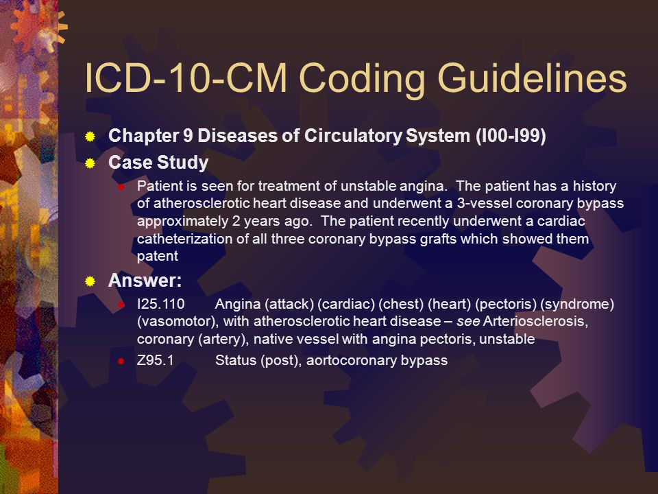 ICD-10-CM Coding Guidelines  Chapter 9 Diseases of Circulatory System (I00-I99)  Case Study  Patient is seen for treatment of unstable angina.