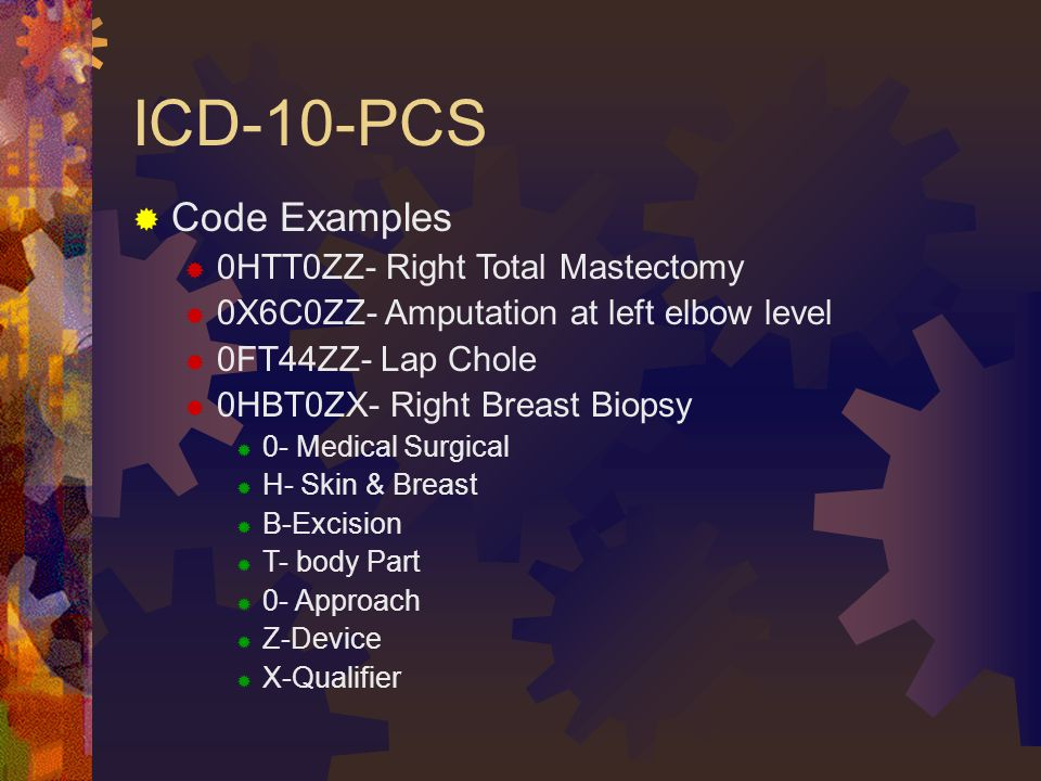 ICD-10-PCS  Code Examples  0HTT0ZZ- Right Total Mastectomy  0X6C0ZZ- Amputation at left elbow level  0FT44ZZ- Lap Chole  0HBT0ZX- Right Breast Biopsy  0- Medical Surgical  H- Skin & Breast  B-Excision  T- body Part  0- Approach  Z-Device  X-Qualifier