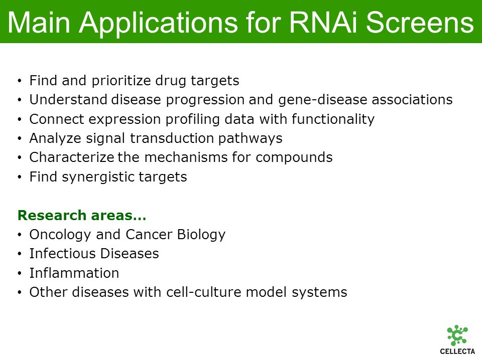 RNAi Screening > 10 m 0.1 - 1 m 0.01 - 0.5 m TWO miRNA PROCESSING STEPS APPROXIMATE INTRACELLULAR CONCENTRATIONS