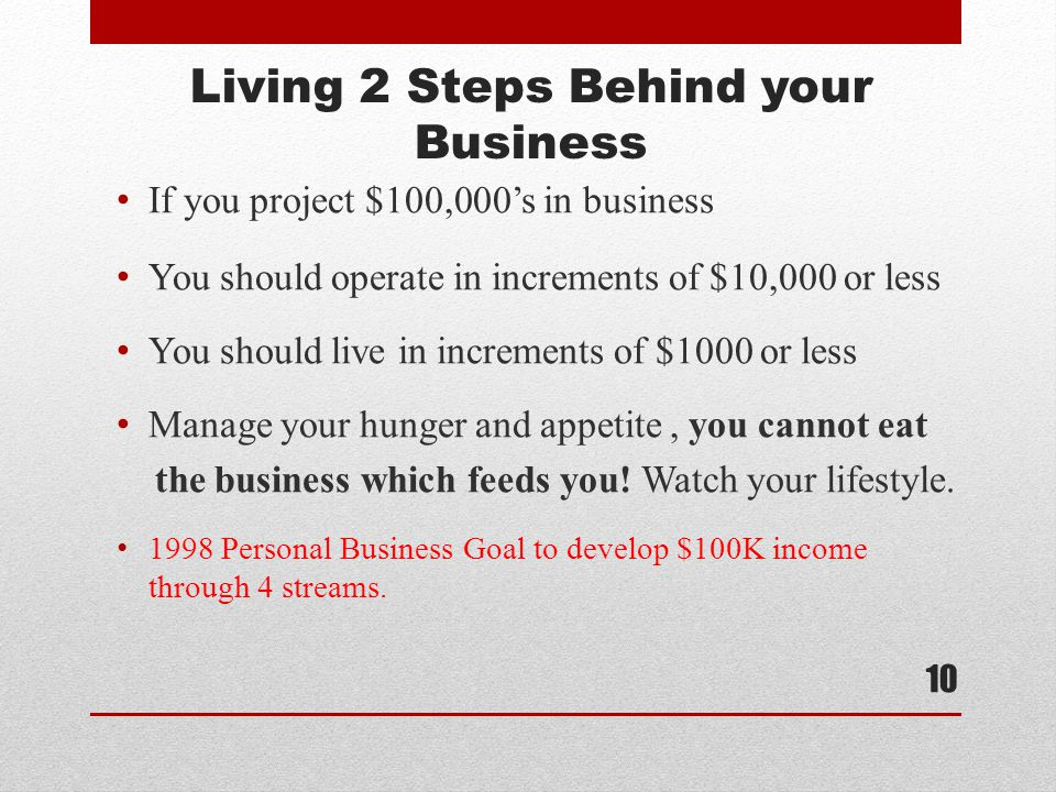 Living 2 Steps Behind your Business If you project $100,000's in business You should operate in increments of $10,000 or less You should live in increments of $1000 or less Manage your hunger and appetite, you cannot eat the business which feeds you.