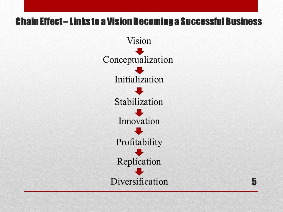Chain Effect – Links to a Vision Becoming a Successful Business 5 Vision Conceptualization Initialization Stabilization Innovation Profitability Replication Diversification