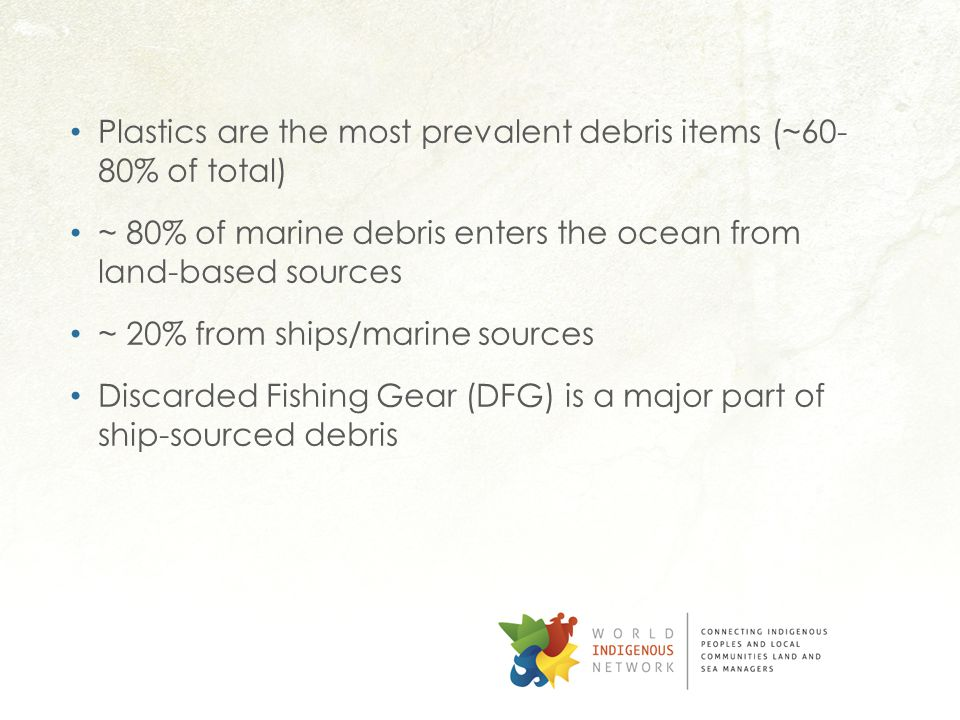 Plastics are the most prevalent debris items (~60- 80% of total) ~ 80% of marine debris enters the ocean from land-based sources ~ 20% from ships/marine sources Discarded Fishing Gear (DFG) is a major part of ship-sourced debris
