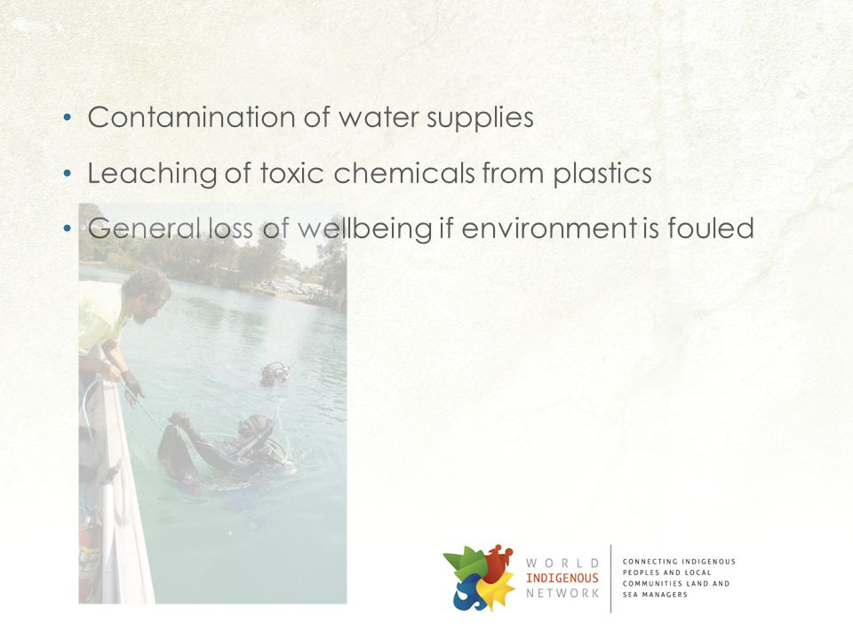 Contamination of water supplies Leaching of toxic chemicals from plastics General loss of wellbeing if environment is fouled