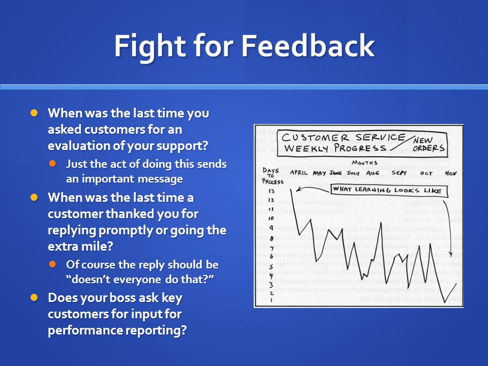 Fight for Feedback When was the last time you asked customers for an evaluation of your support.