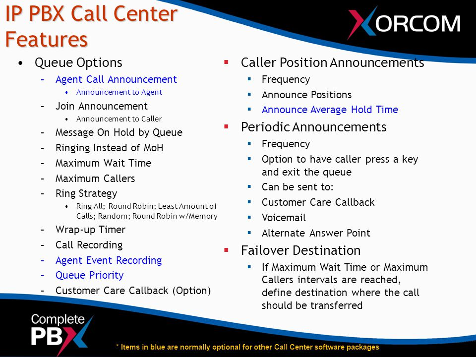 IP PBX Call Center Features Queue Options –Agent Call Announcement Announcement to Agent –Join Announcement Announcement to Caller –Message On Hold by
