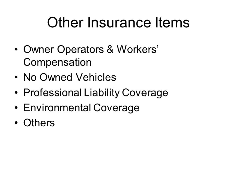 Other Insurance Items Owner Operators & Workers' Compensation No Owned Vehicles Professional Liability Coverage Environmental Coverage Others