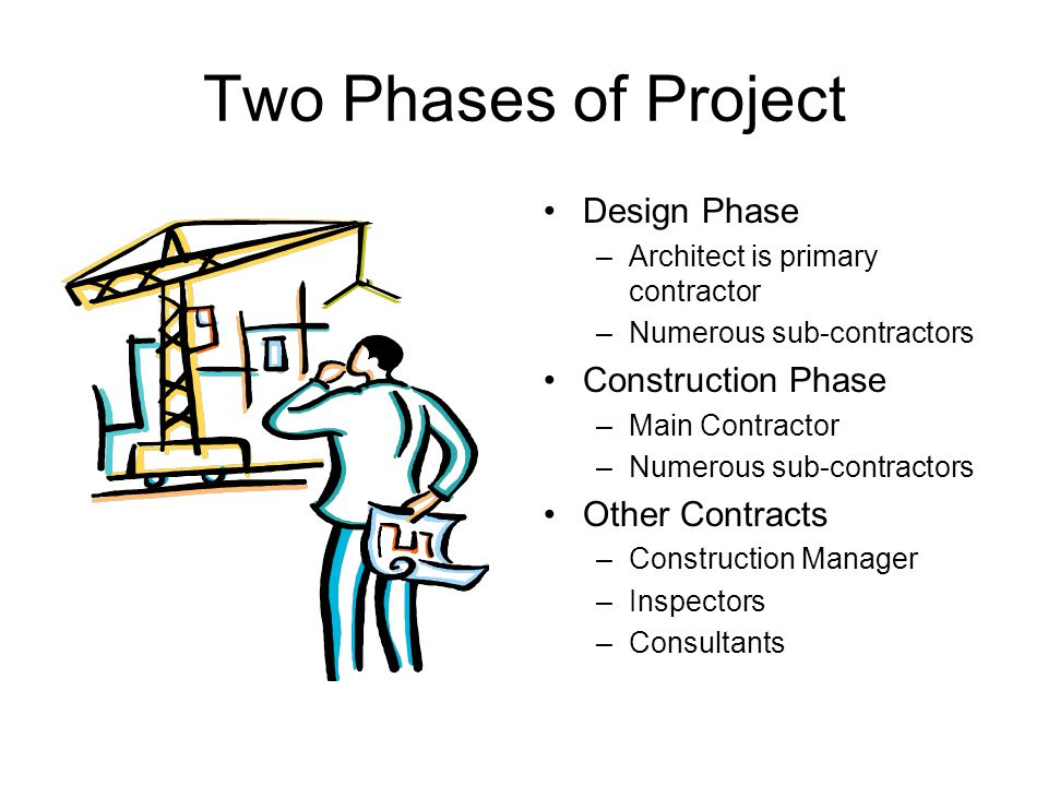 Two Phases of Project Design Phase –Architect is primary contractor –Numerous sub-contractors Construction Phase –Main Contractor –Numerous sub-contractors Other Contracts –Construction Manager –Inspectors –Consultants