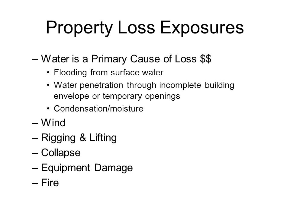 Property Loss Exposures –Water is a Primary Cause of Loss $$ Flooding from surface water Water penetration through incomplete building envelope or temporary openings Condensation/moisture –Wind –Rigging & Lifting –Collapse –Equipment Damage –Fire