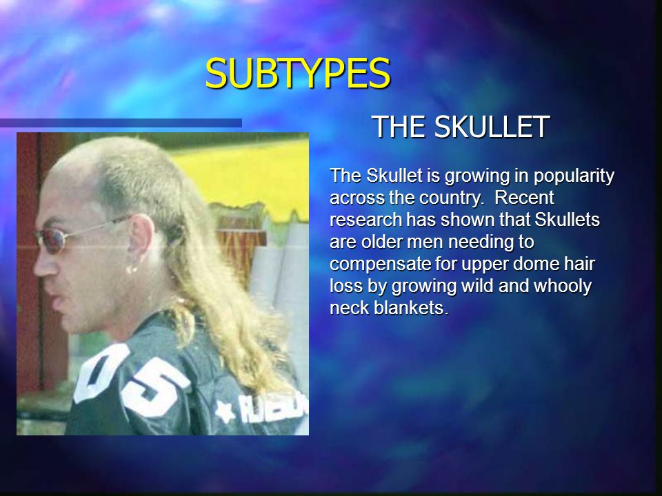 SUBTYPES VIRGINMULLET The Virginmullet is a fairly common find amongst the population. They are characterized by their flaccid mullets which can only