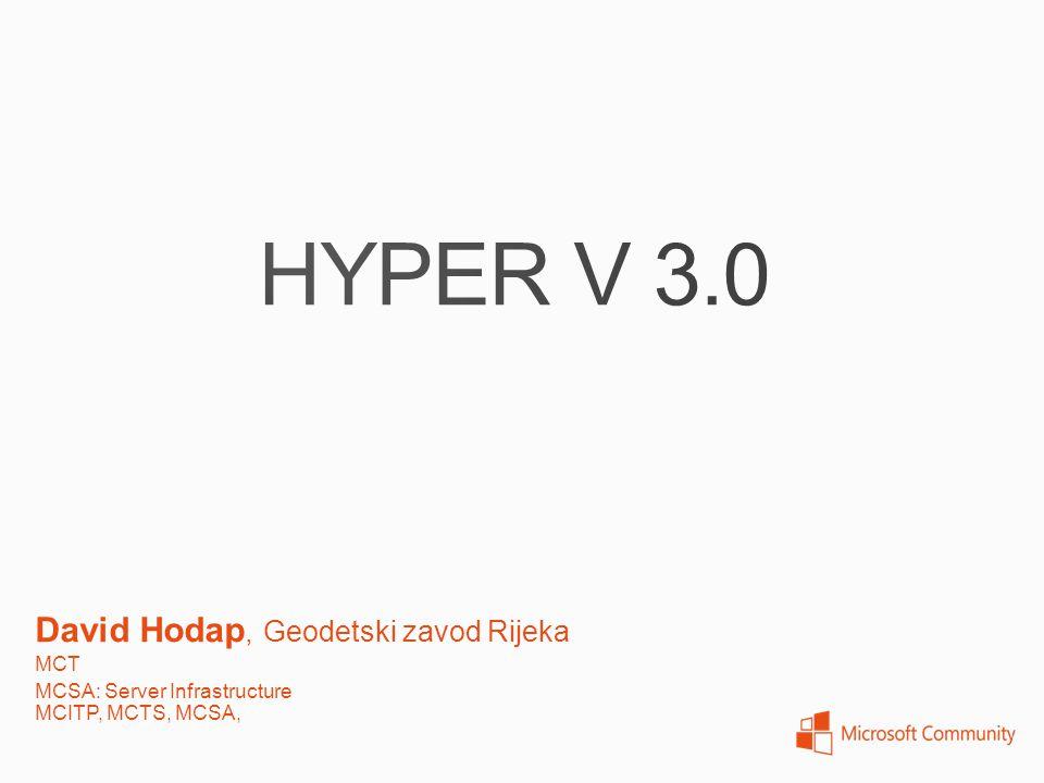 Windows Server 2008 – Hyper-V 1.0 Basic functionaliti only Windows Server 2008 R2 –Hyper-V 2.0 Live Migration Dynamic memory Windows Server 2012 – Hyper-V 3.0 A lot of new features