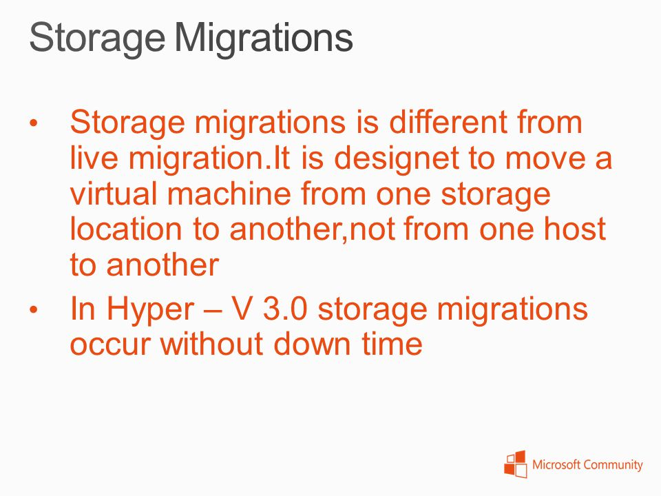 Storage migrations is different from live migration.It is designet to move a virtual machine from one storage location to another,not from one host to