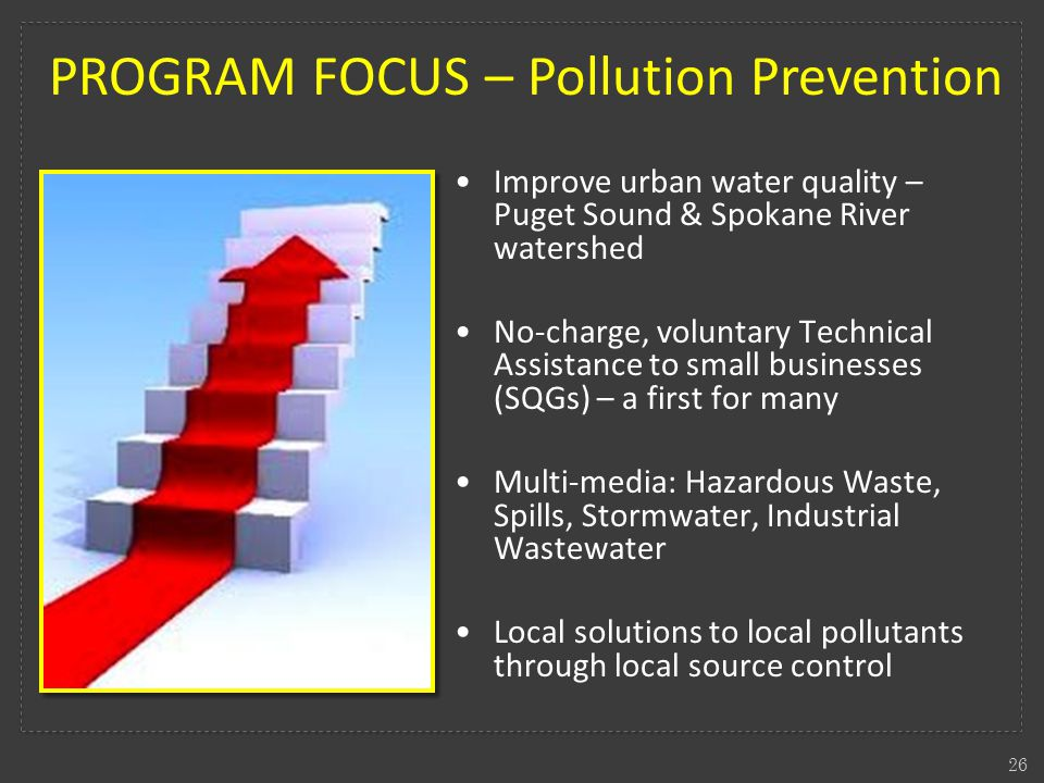 26 PROGRAM FOCUS – Pollution Prevention Improve urban water quality – Puget Sound & Spokane River watershed No-charge, voluntary Technical Assistance to small businesses (SQGs) – a first for many Multi-media: Hazardous Waste, Spills, Stormwater, Industrial Wastewater Local solutions to local pollutants through local source control