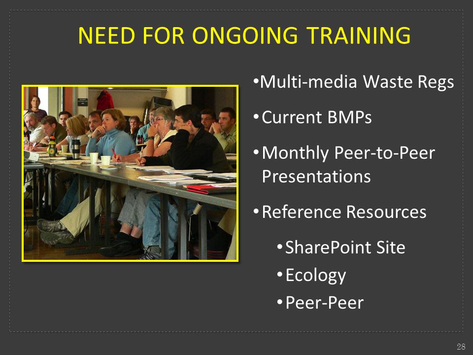 NEED FOR ONGOING TRAINING 28 Multi-media Waste Regs Current BMPs Monthly Peer-to-Peer Presentations Reference Resources SharePoint Site Ecology Peer-Peer