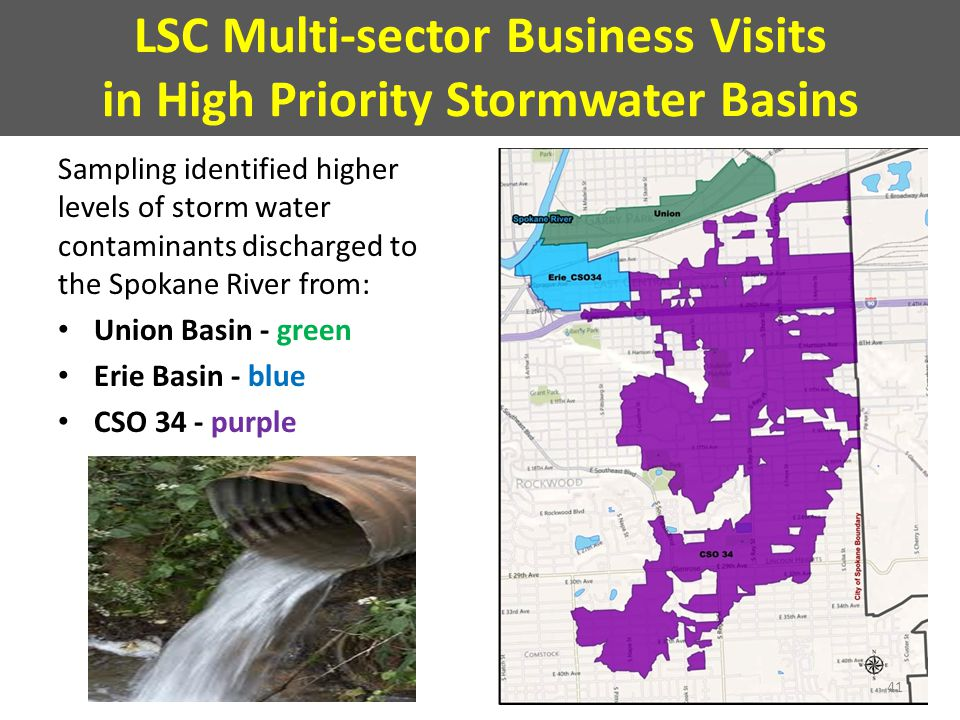 LSC Multi-sector Business Visits in High Priority Stormwater Basins Sampling identified higher levels of storm water contaminants discharged to the Spokane River from: Union Basin - green Erie Basin - blue CSO 34 - purple 41