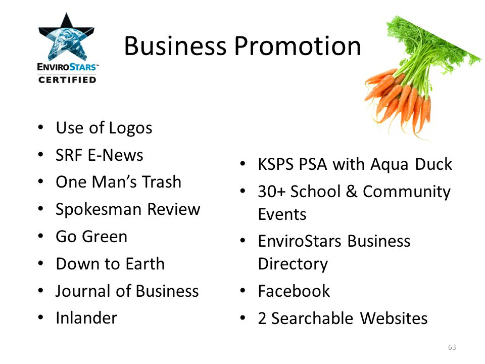 Use of Logos SRF E-News One Man's Trash Spokesman Review Go Green Down to Earth Journal of Business Inlander KSPS PSA with Aqua Duck 30+ School & Community Events EnviroStars Business Directory Facebook 2 Searchable Websites Business Promotion 63