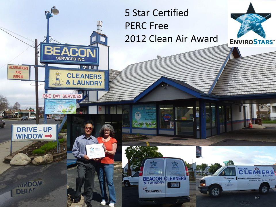 5 Star Certified PERC Free 2012 Clean Air Award 65