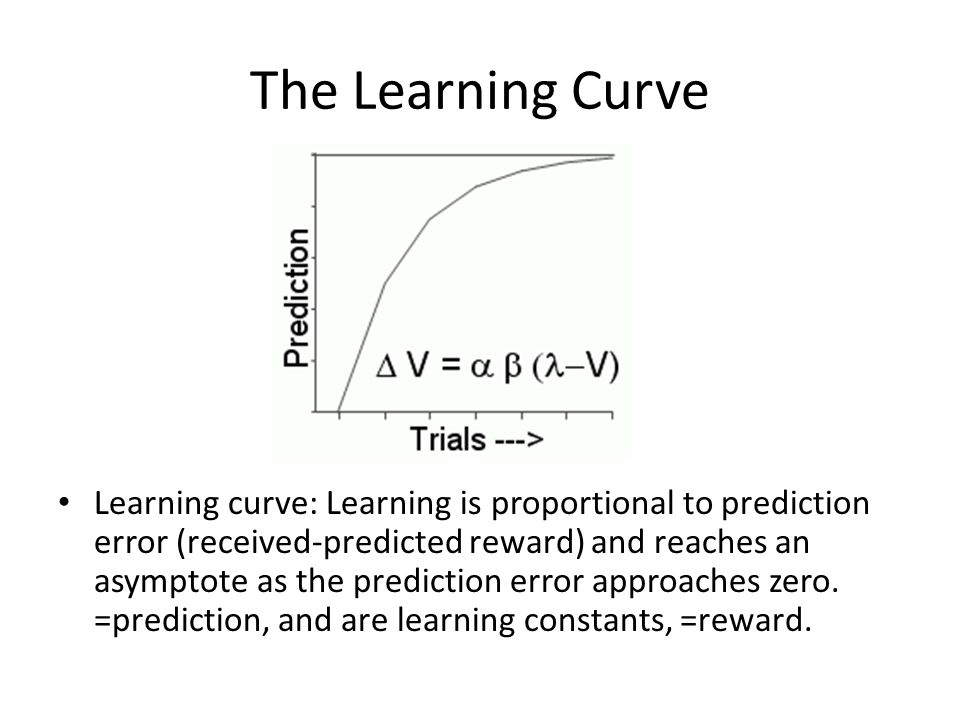 The Learning Curve Learning curve: Learning is proportional to prediction error (received-predicted reward) and reaches an asymptote as the prediction