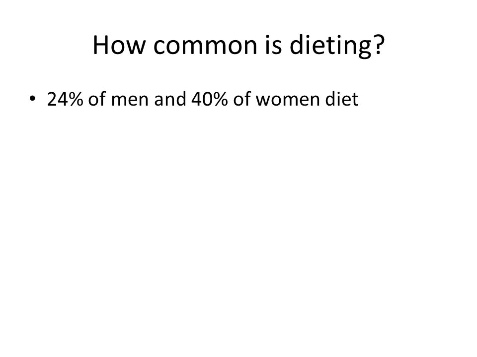 How common is dieting? 24% of men and 40% of women diet