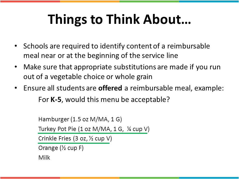 Things to Think About… Schools are required to identify content of a reimbursable meal near or at the beginning of the service line Make sure that app