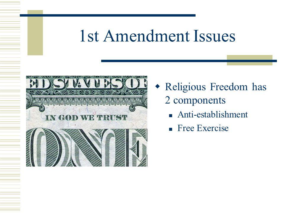 1st Amendment Issues  Religious Freedom has 2 components Anti-establishment Free Exercise