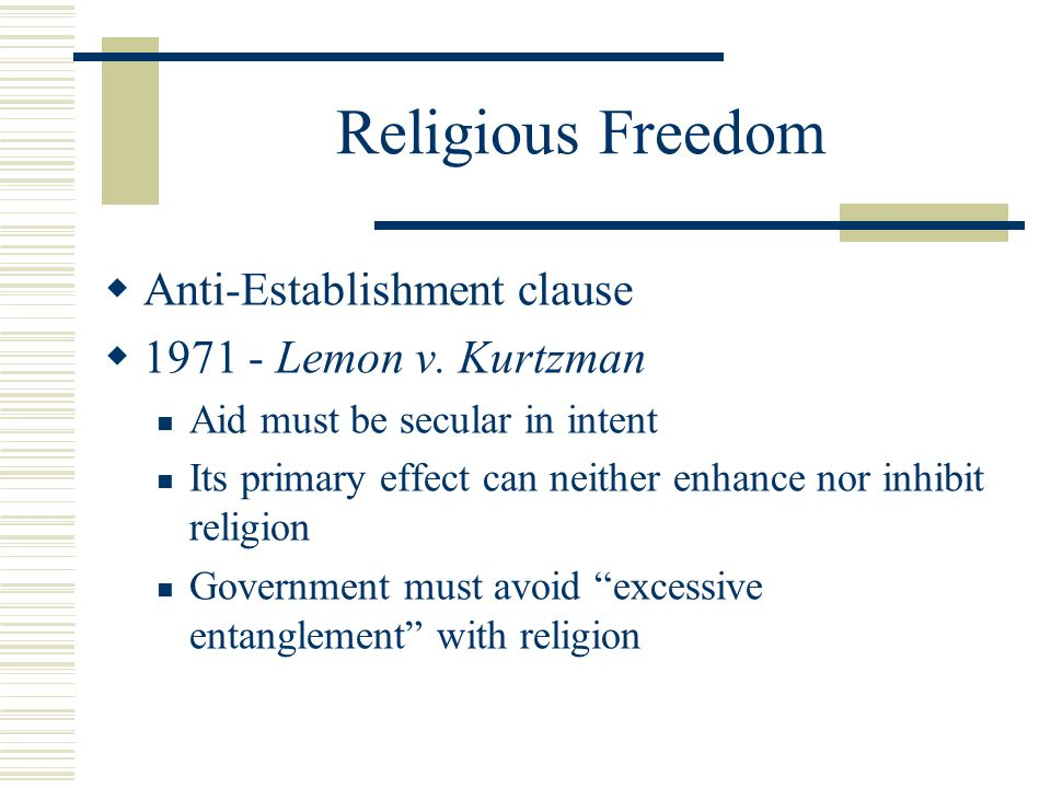 Religious Freedom  Is aid -- tax dollars -- to church related schools permissible.