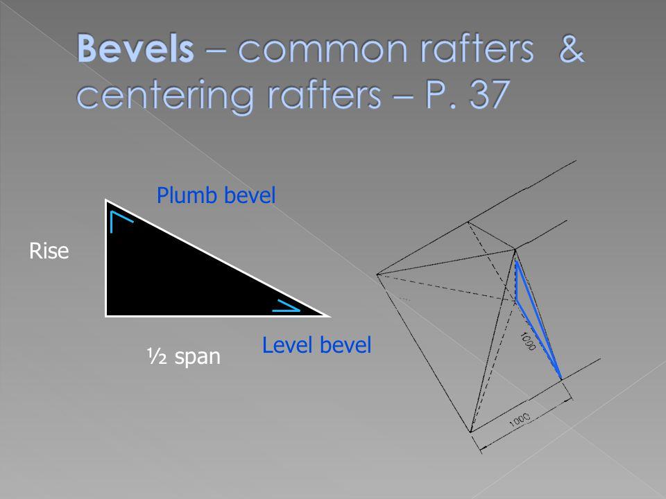 Rise ½ span Plumb bevel Level bevel