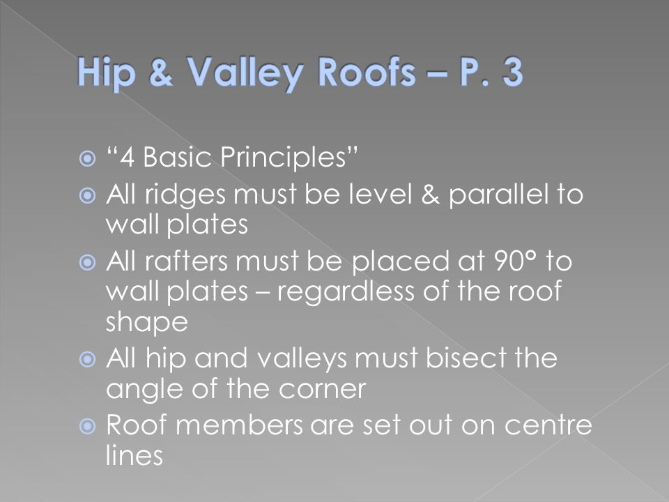 """ """"4 Basic Principles""""  All ridges must be level & parallel to wall plates  All rafters must be placed at 90° to wall plates – regardless of the roo"""