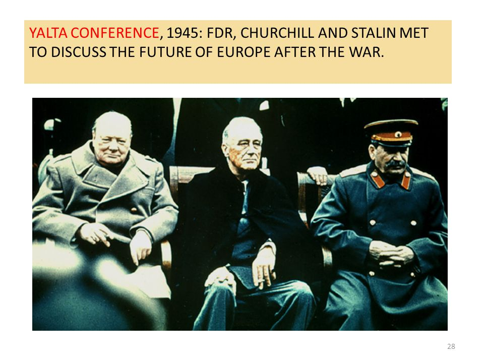 28 YALTA CONFERENCE, 1945: FDR, CHURCHILL AND STALIN MET TO DISCUSS THE FUTURE OF EUROPE AFTER THE WAR.