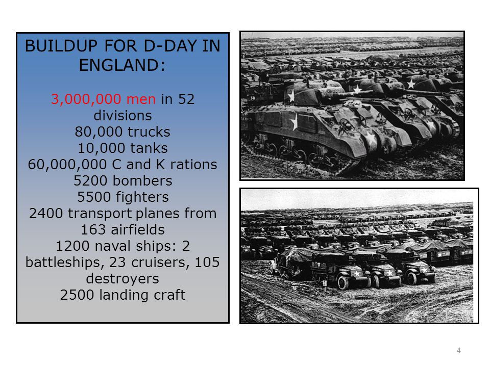 4 BUILDUP FOR D-DAY IN ENGLAND: 3,000,000 men in 52 divisions 80,000 trucks 10,000 tanks 60,000,000 C and K rations 5200 bombers 5500 fighters 2400 tr