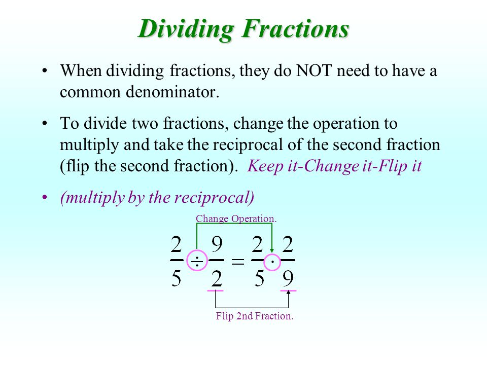 When dividing fractions, they do NOT need to have a common denominator. To divide two fractions, change the operation to multiply and take the recipro