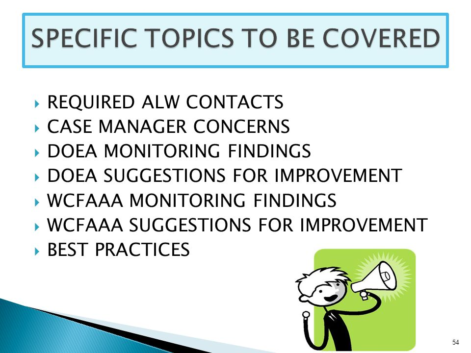 REQUIRED ALW CONTACTS  CASE MANAGER CONCERNS  DOEA MONITORING FINDINGS  DOEA SUGGESTIONS FOR IMPROVEMENT  WCFAAA MONITORING FINDINGS  WCFAAA SUGGESTIONS FOR IMPROVEMENT  BEST PRACTICES 54