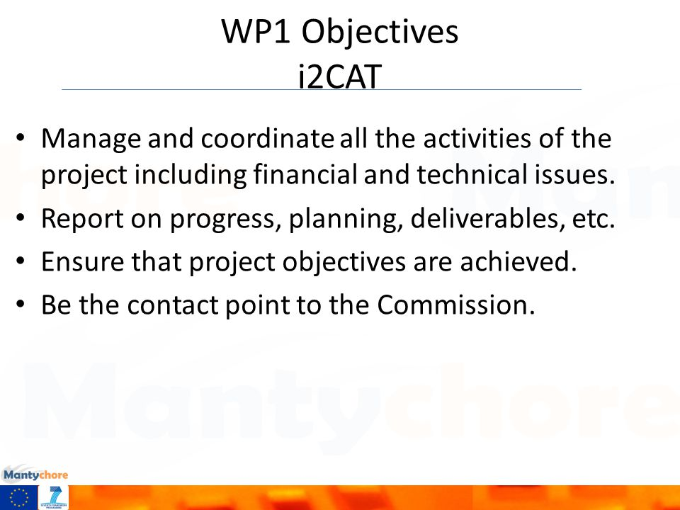 WP1 Objectives i2CAT Manage and coordinate all the activities of the project including financial and technical issues.