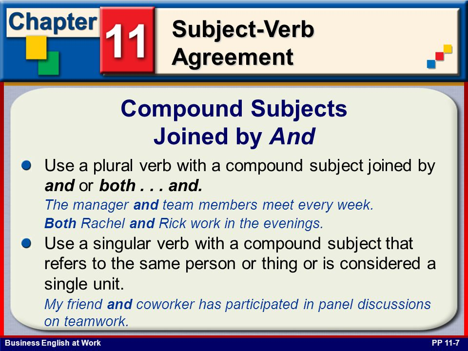 Business English at Work Subject-Verb Agreement Compound Subjects Joined by And PP 11-7 Use a plural verb with a compound subject joined by and or both...